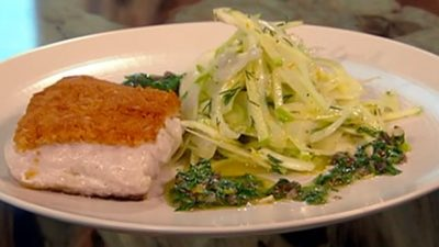 Baked hake with green sauce and fennel salad