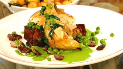 Chicken roasted over sourdough with morels, peas and wild garlic mayonnaise