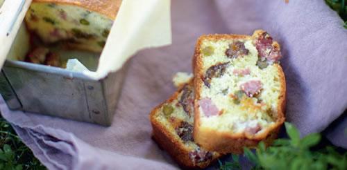 Cured sausage, pistachio, and prune cake