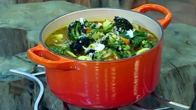 Tuscan peasant pot soup with wild garlic pesto