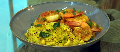 South Indian Prawn Curry With Lemon Rice Saturday Kitchen Recipes