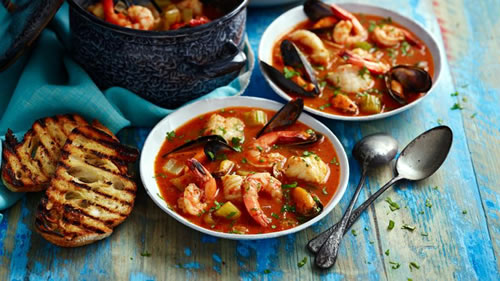 Cod, mussel and prawn stew with sourdough