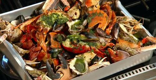 Roast shellfish platter with garlic and chilli butter and roast garlic mayonnaise