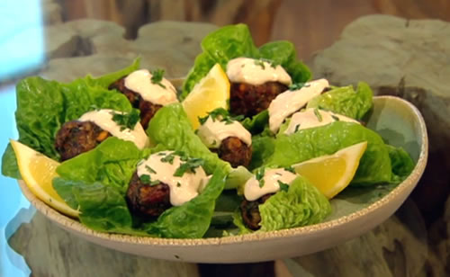 Lamb koftas with spicy tahini dip