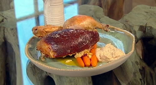Spiced roast chicken with carrots and bread sauce