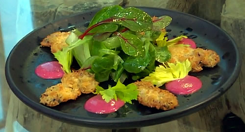 Oysters in coconut crumb with beetroot mayonnaise