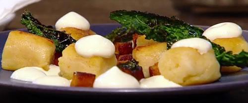 Baked potato gnocchi, cavolo nero and pumpkin
