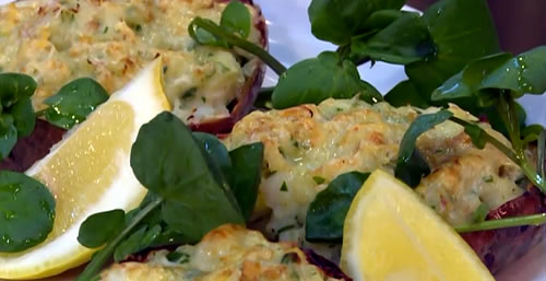 Cod and parsley stuffed jacket potato