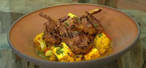 Marinated lamb chops with paneer