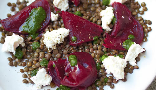 Puy lentil salad with goat's cheese, beets, and a dill vinaigrette