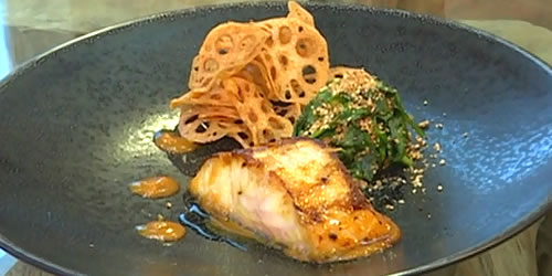 Black cod with saikyo miso and sesame spinach