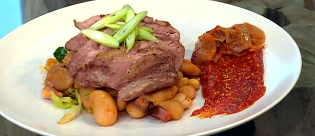 Pork, beans and kimchi with ssamjang
