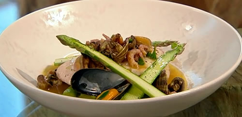 Steamed halibut, asparagus and shellfish