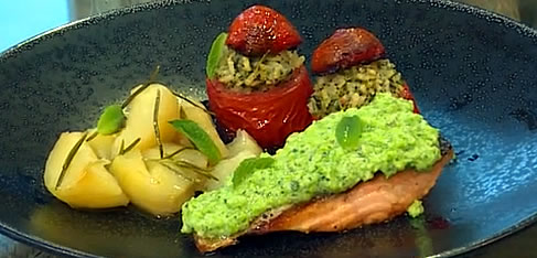 Salmon fillets with broad bean and pecorino mousse, stuffed tomatoes and potatoes
