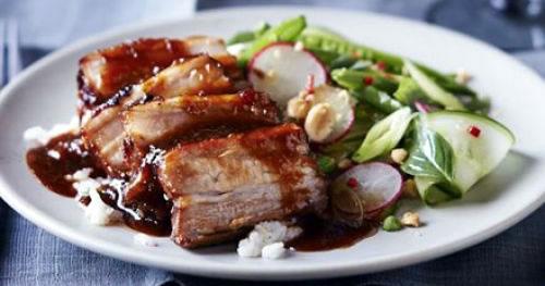 Sticky pork belly with Vietnamese-style salad