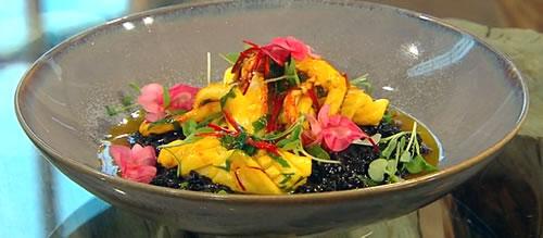 Risotto nero with saffron chilli squid