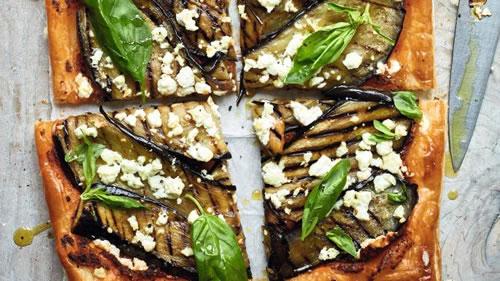 Aubergine and feta tart
