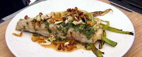 Barbecued turbot and leeks, girolles and fresh almonds