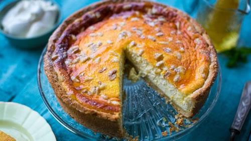 Lemon, ricotta and pine nut tart
