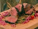 Rack of lamb with escalivada and pickled onions