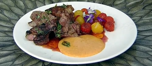 Seared steak and gözleme with aioli and roast tomatoes