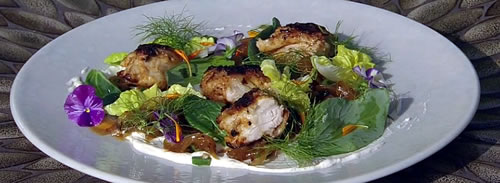 Spiced marinated chicken with grilled pineapple and green bean chutney