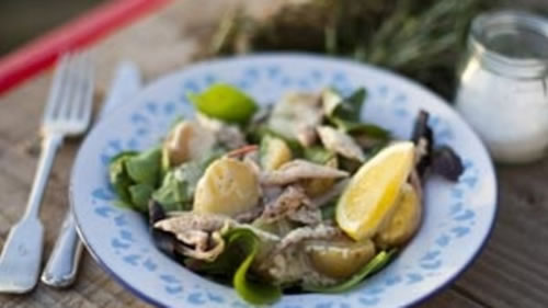 Tea-smoked mackerel with a new potato salad and mustard dressing