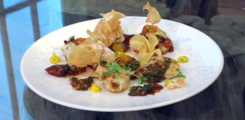 Monkfish cheeks and crisps with a ketchup dressing and tarragon mayonnaise