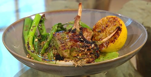 Grilled lamb chop with green apple harissa, green tahini and spring onion