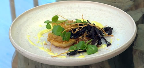 Hay baked celeriac with chicken skin, whey and wheat grain pudding