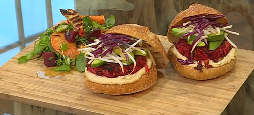 Loaded beetroot burgers with halloumi and sweet potato salad