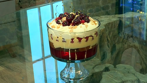 Raspberry and cherry trifle