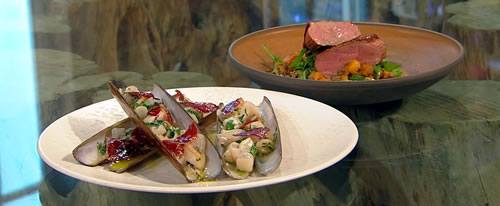 Razor clams with jamón and cava vinaigrette and warm duck, pumpkin and pardina lentil salad