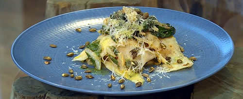 Celeriac ribbons with chard, garlic and pumpkin seeds