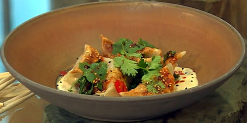 Pork and Chinese chive dumplings with Sichuan chilli oil and black vinegar mayonnaise