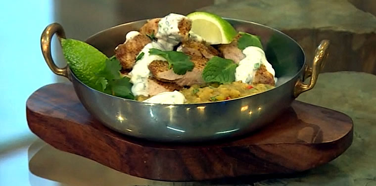 Roast spiced chicken thighs with red lentils and mint yoghurt