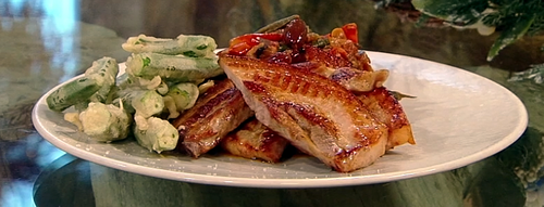 Aubergine and okra caponata with chargrilled pork belly