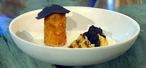 Chicken velouté soup with cheese croquette and truffle