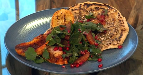 Harissa-roasted monkfish with blood orange, sumac, pomegranate and za'atar flatbread