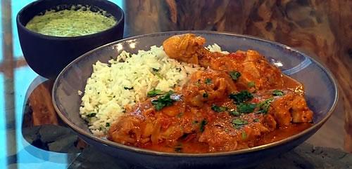 Keralan kozhi kuttan with lime and coriander rice and mint raita
