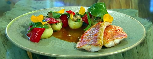 Red mullet, leeks and bone marrow-stuffed potatoes