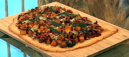 Squash, pecan, spinach and blue cheese torte