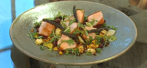 Sweetcorn purée and roasted salmon with chargrilled corn, baby corn and sobrasada