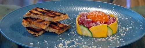 Tuna tartare with confit duck egg yolk