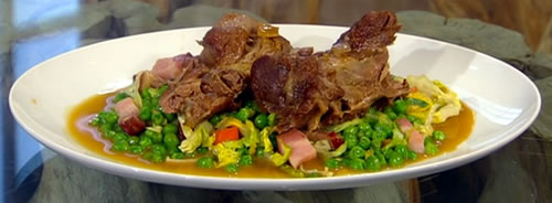Braised lamb neck with pea and lettuce ragoût