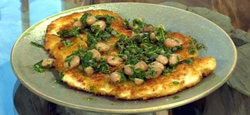 Chicken Milanese with beans and salsa verde