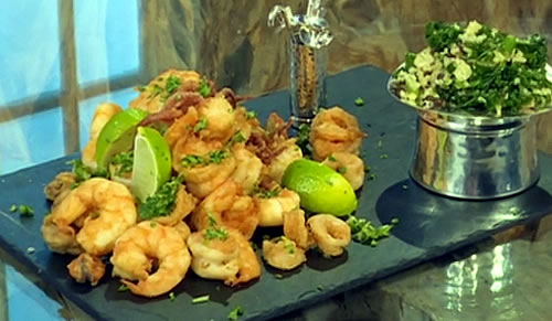 Fritto misto with chilli-lime gremolata