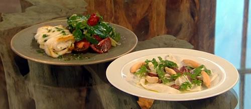 Iberian pork jowl with squid salad