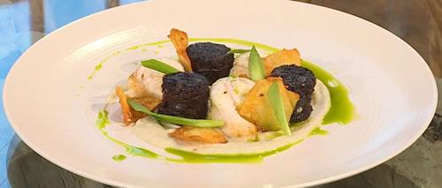 Sole fillets and black pudding with Jerusalem artichoke purée