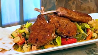 Caponata with stuffed lamb chops